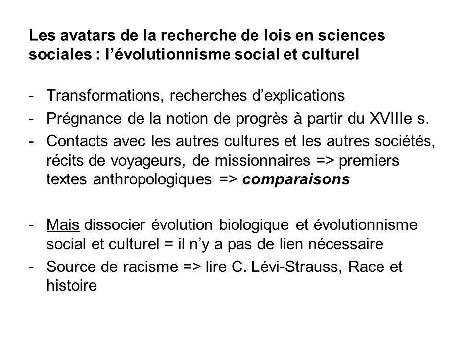 Les avatars de la recherche de lois en sciences sociales : lévolutionnisme social et culturel -Transformations, recherches dexplications -Prégnance de la notion de progrès à partir du XVIIIe s.