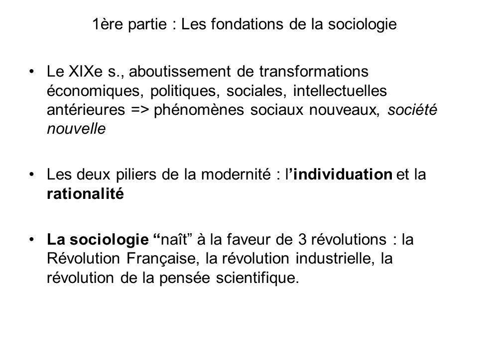 1ère partie : Les fondations de la sociologie Le XIXe s., aboutissement de transformations économiques, politiques, sociales, intellectuelles antérieu