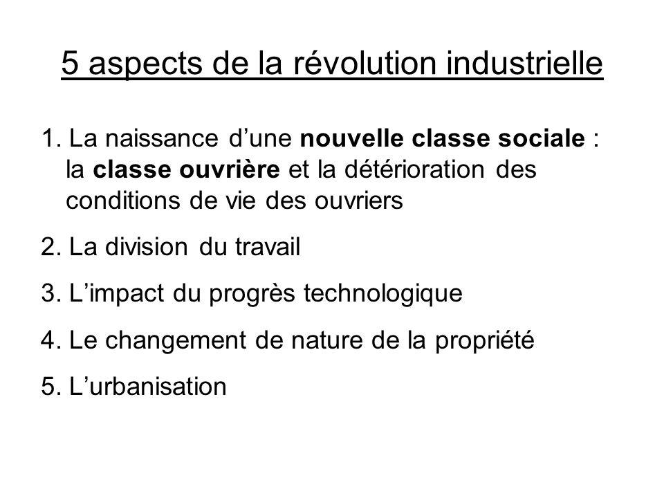 5 aspects de la révolution industrielle 1. La naissance dune nouvelle classe sociale : la classe ouvrière et la détérioration des conditions de vie de