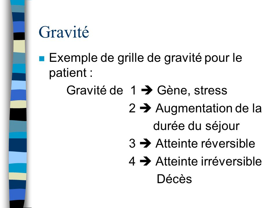 Gravité n Exemple de grille de gravité pour le patient : Gravité de 1 Gène, stress 2 Augmentation de la durée du séjour 3 Atteinte réversible 4 Atteinte irréversible Décès