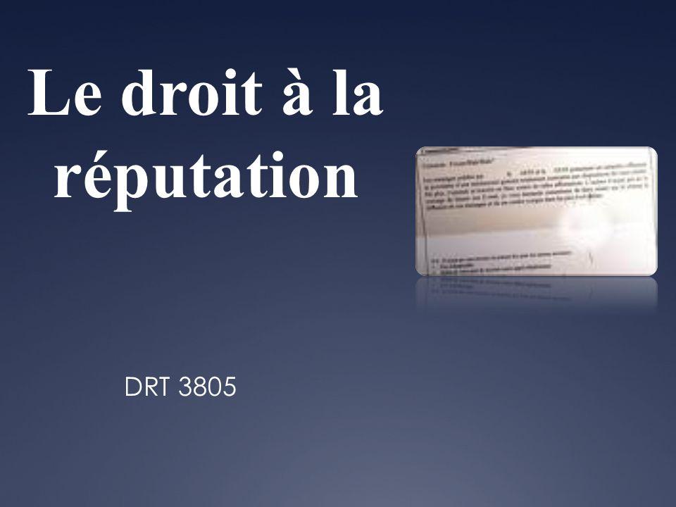 Le droit à la réputation DRT 3805