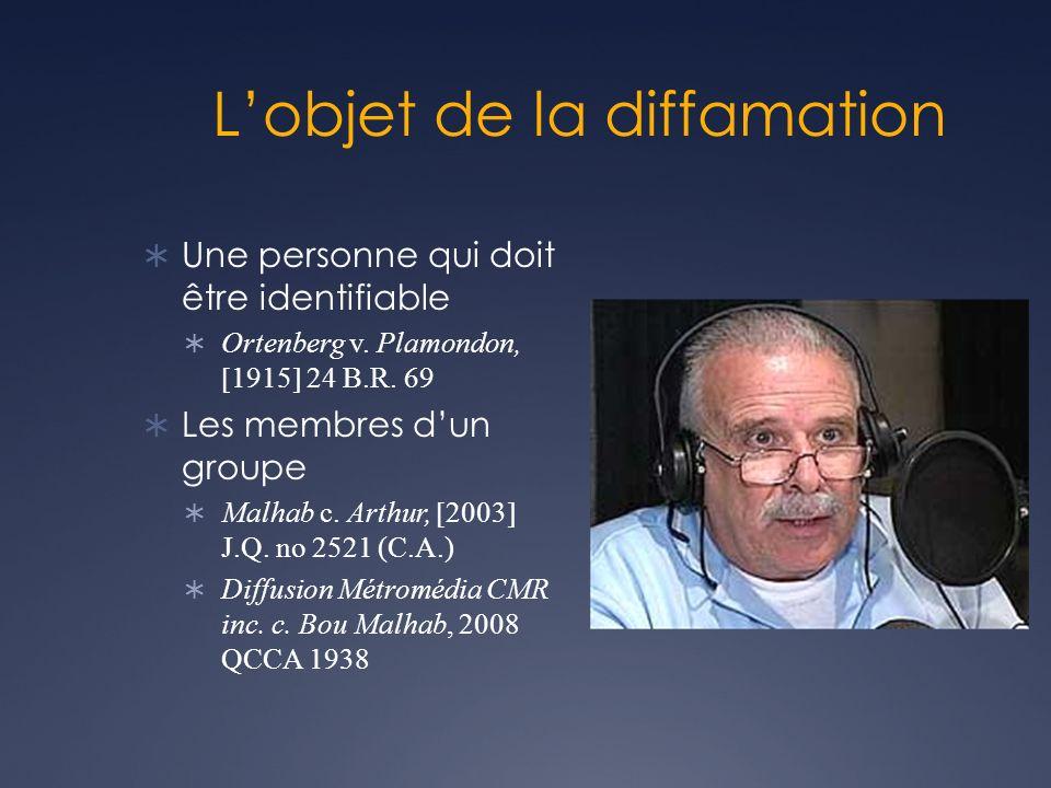 Lobjet de la diffamation Une personne qui doit être identifiable Ortenberg v.