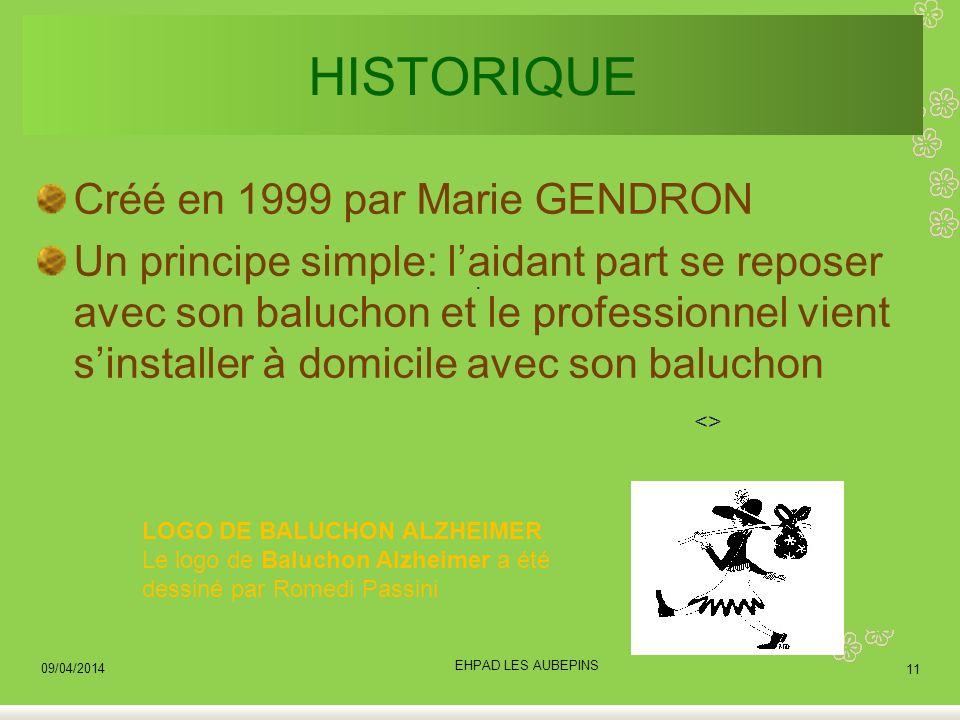 HISTORIQUE Créé en 1999 par Marie GENDRON Un principe simple: laidant part se reposer avec son baluchon et le professionnel vient sinstaller à domicil