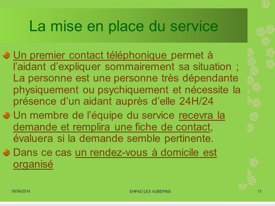 La mise en place du service Un premier contact téléphonique permet à laidant dexpliquer sommairement sa situation ; La personne est une personne très