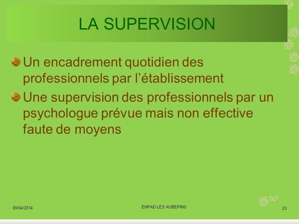 LA SUPERVISION Un encadrement quotidien des professionnels par létablissement Une supervision des professionnels par un psychologue prévue mais non ef