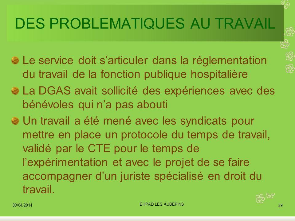 DES PROBLEMATIQUES AU TRAVAIL Le service doit sarticuler dans la réglementation du travail de la fonction publique hospitalière La DGAS avait sollicit