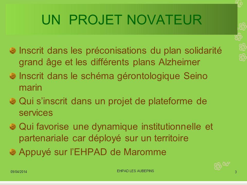 UN PROJET NOVATEUR Inscrit dans les préconisations du plan solidarité grand âge et les différents plans Alzheimer Inscrit dans le schéma gérontologiqu