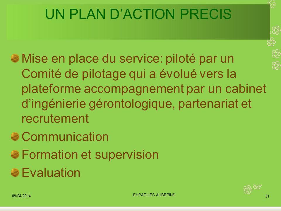 UN PLAN DACTION PRECIS Mise en place du service: piloté par un Comité de pilotage qui a évolué vers la plateforme accompagnement par un cabinet dingén