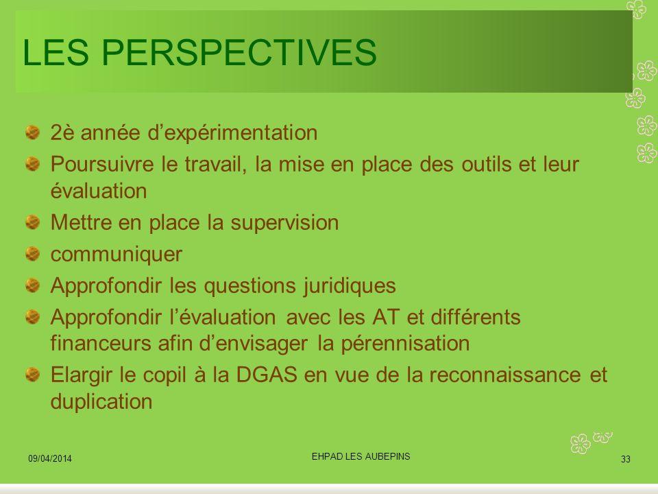 LES PERSPECTIVES 2è année dexpérimentation Poursuivre le travail, la mise en place des outils et leur évaluation Mettre en place la supervision commun