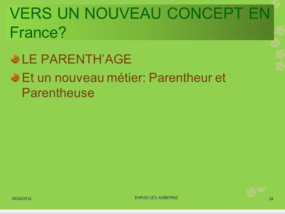 VERS UN NOUVEAU CONCEPT EN France? LE PARENTHAGE Et un nouveau métier: Parentheur et Parentheuse 09/04/2014 34 EHPAD LES AUBEPINS