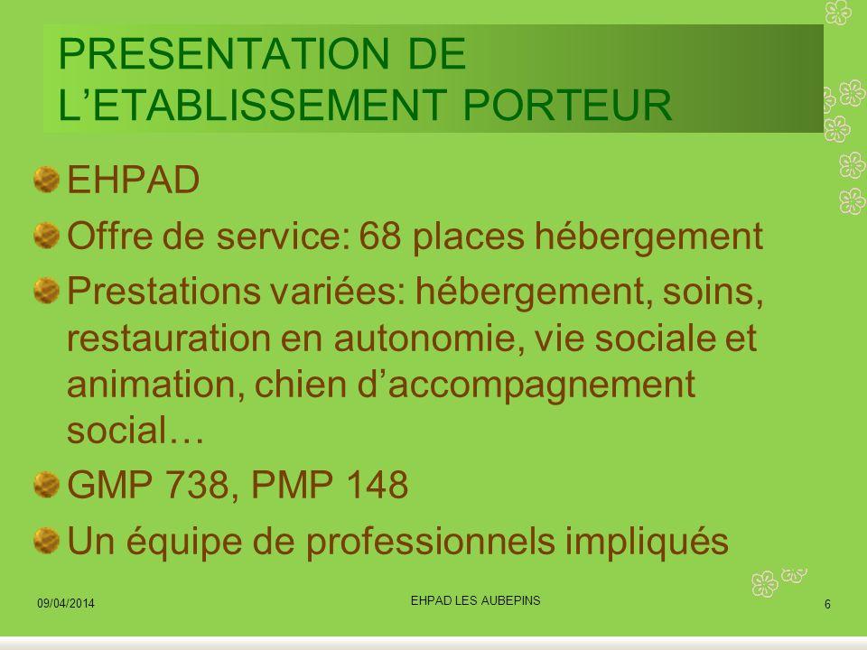 PRESENTATION DE LETABLISSEMENT PORTEUR EHPAD Offre de service: 68 places hébergement Prestations variées: hébergement, soins, restauration en autonomi