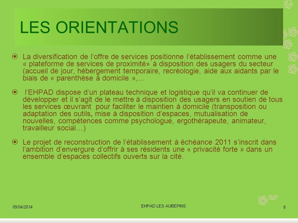 LES ORIENTATIONS La diversification de loffre de services positionne létablissement comme une « plateforme de services de proximité» à disposition des