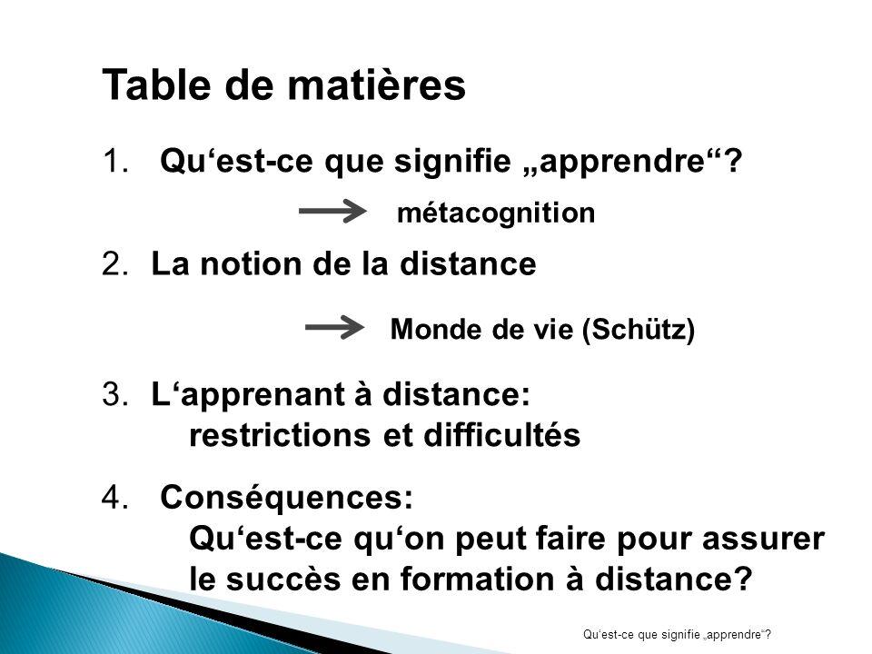 1.Apprendre à distance Apprendre = acquérir des compétences pour savoir gérer des informations nécessaires à résoudre des problèmes 1.