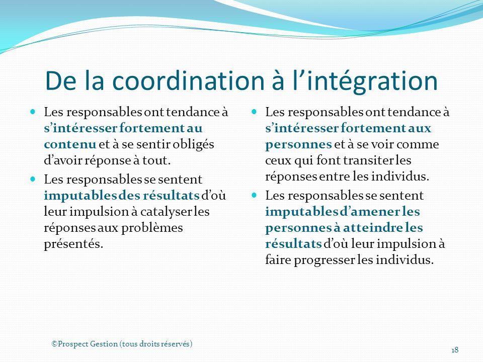 De la coordination à lintégration Les responsables ont tendance à sintéresser fortement au contenu et à se sentir obligés davoir réponse à tout.