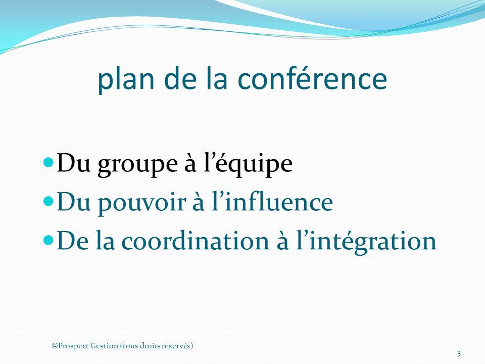 plan de la conférence Du groupe à léquipe Du pouvoir à linfluence De la coordination à lintégration ©Prospect Gestion (tous droits réservés) 3