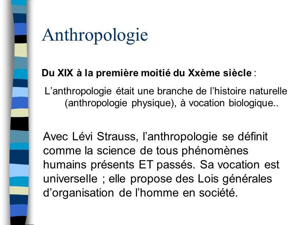 Anthropologie Du XIX à la première moitié du Xxème siècle : Lanthropologie était une branche de lhistoire naturelle (anthropologie physique), à vocati