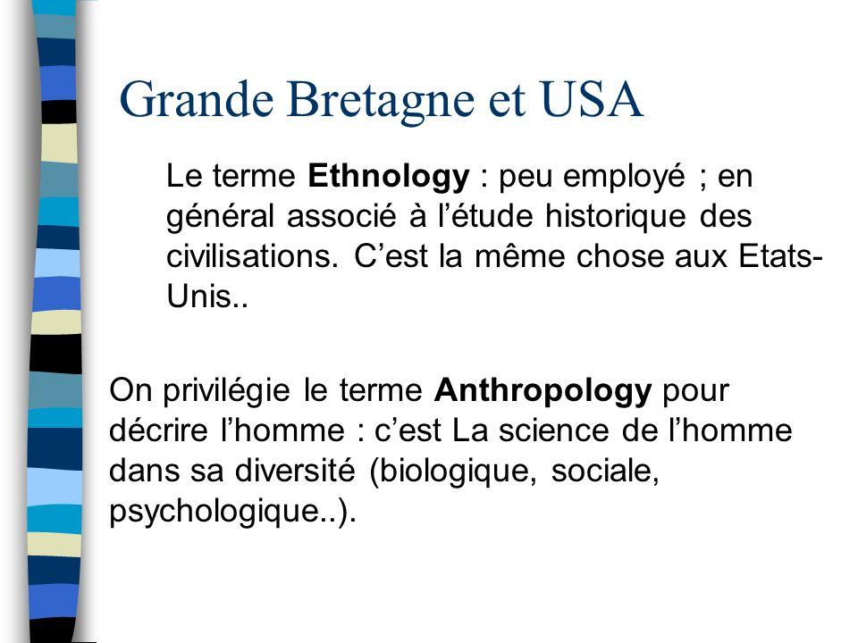 Grande Bretagne et USA Le terme Ethnology : peu employé ; en général associé à létude historique des civilisations. Cest la même chose aux Etats- Unis