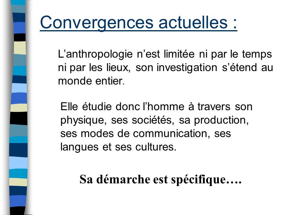 Convergences actuelles : Lanthropologie nest limitée ni par le temps ni par les lieux, son investigation sétend au monde entier. Elle étudie donc lhom