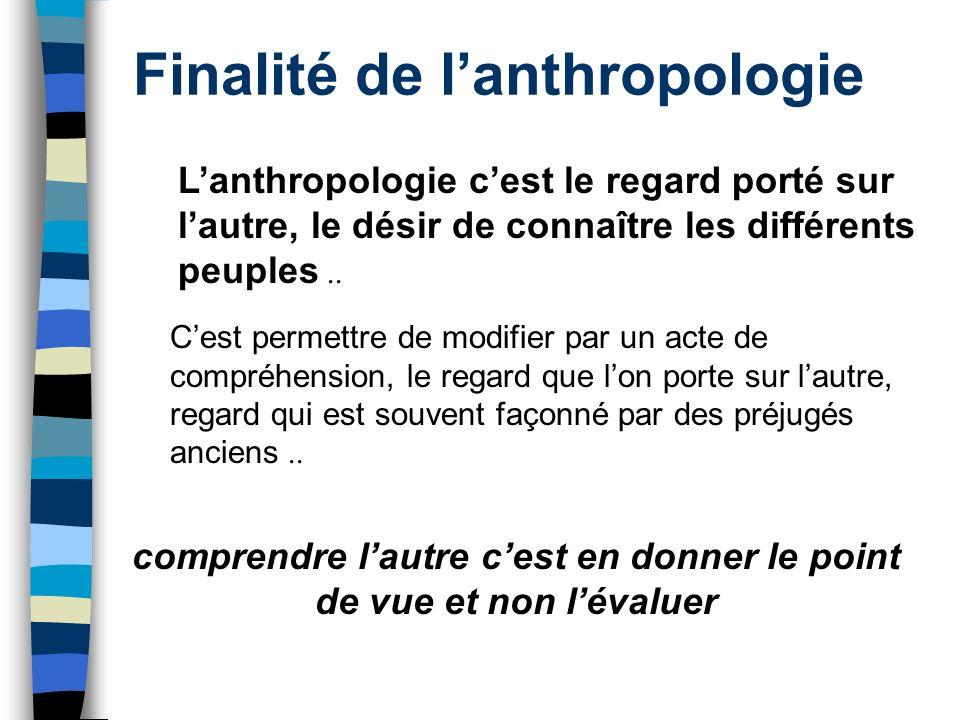 Finalité de lanthropologie Lanthropologie cest le regard porté sur lautre, le désir de connaître les différents peuples.. Cest permettre de modifier p