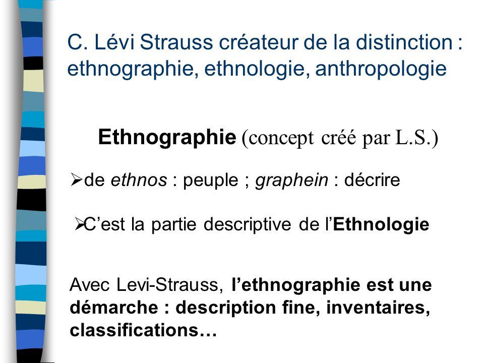 C. Lévi Strauss créateur de la distinction : ethnographie, ethnologie, anthropologie Ethnographie (concept créé par L.S.) Cest la partie descriptive d
