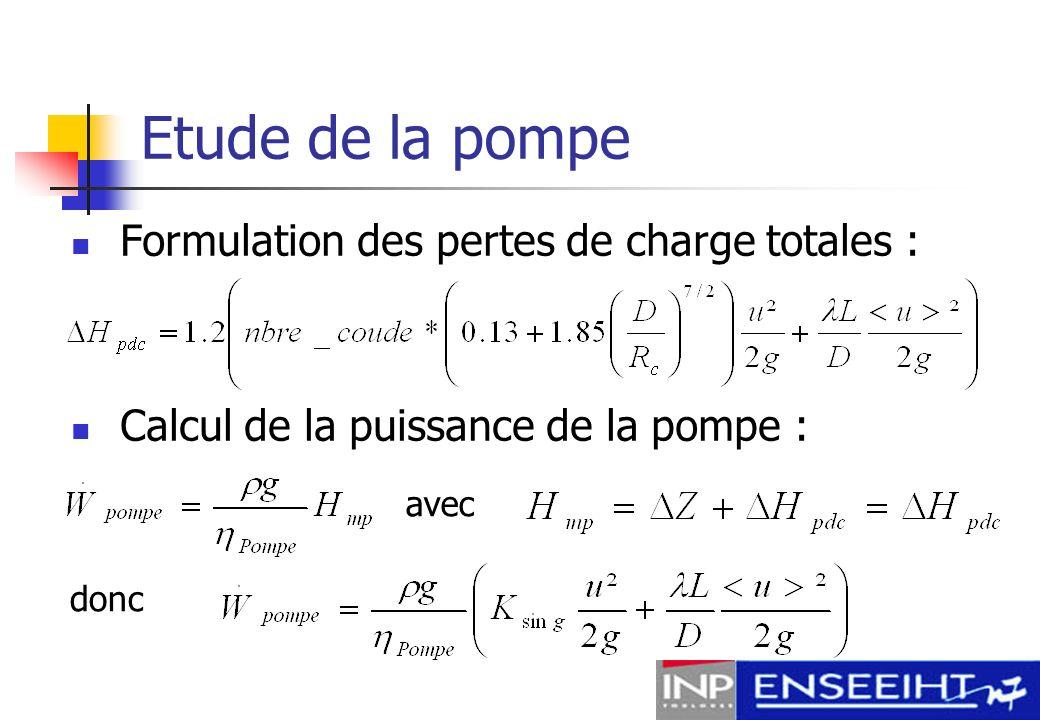 Etude de la pompe Dimensionnement : Chambre en série Conduites de moins de 2 cm Radiateur de 21cm*21cm Puissance de la pompe : 720 000 J/kg P pompe = 6 % P moteur
