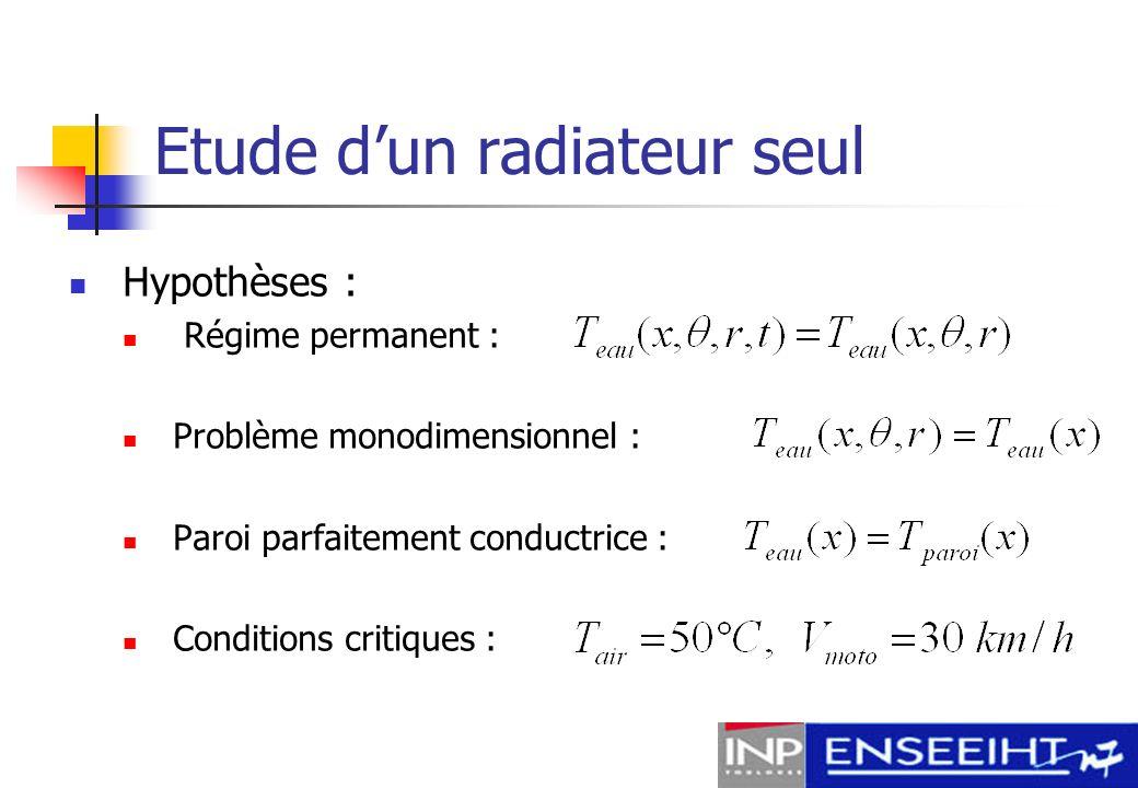 Etude dun radiateur seul Calcul du coefficient déchange convectif h Nombre de Nusselt moyen : Régime découlement :