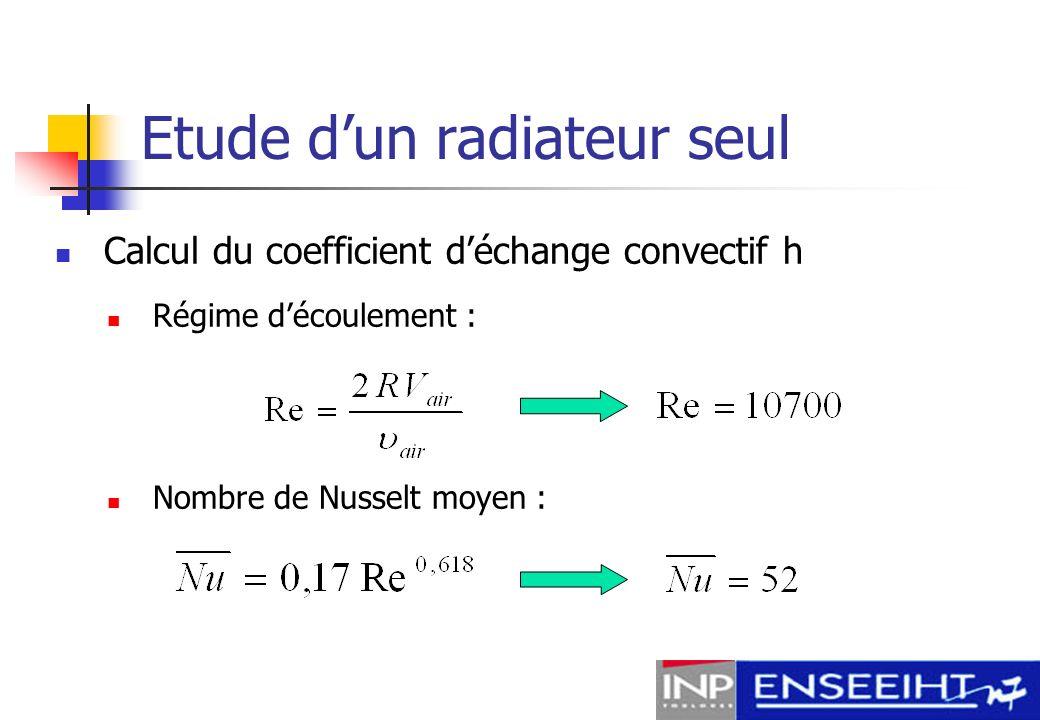 Etude dun radiateur seul Coefficient convectif h :