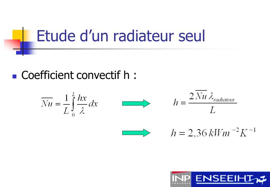 Etude dun radiateur seul Flux total évacué par le radiateur : Flux par unité de surface :