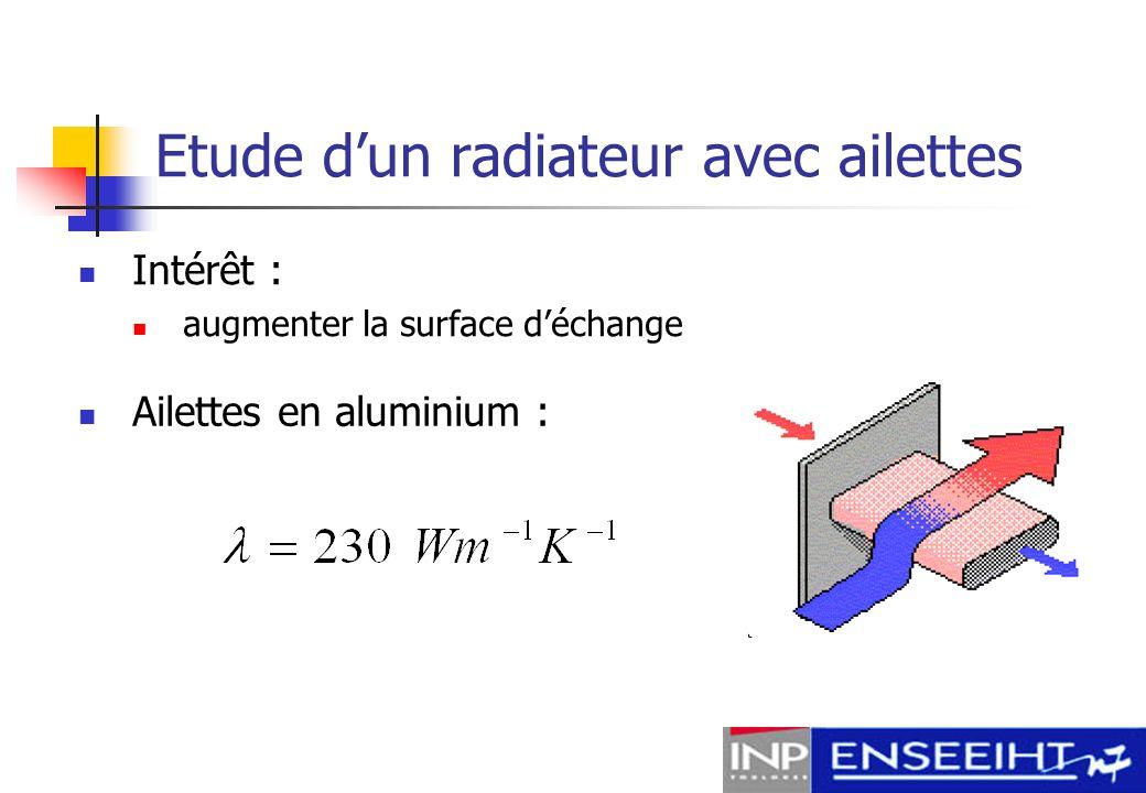 Etude dun radiateur avec ailettes Flux évacué par une ailette : Régime découlement : Nombre de Nusselt moyen :