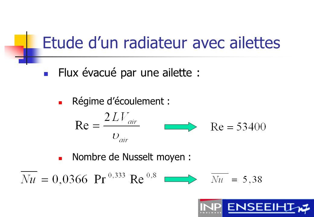 Etude dun radiateur avec ailettes Coefficient convectif : Résistance thermique :