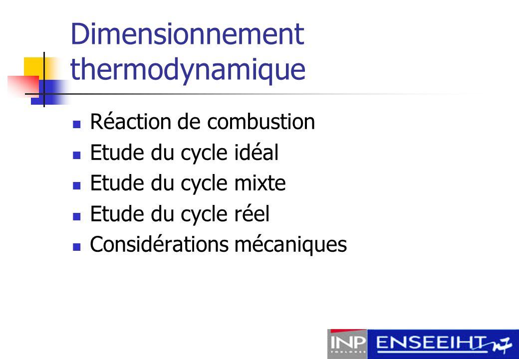 Réaction de combustion Hypothèses : Réaction unique (pas de dissociations) Gaz parfait (isooctane + air) Réaction considérée : Stoechiométrique