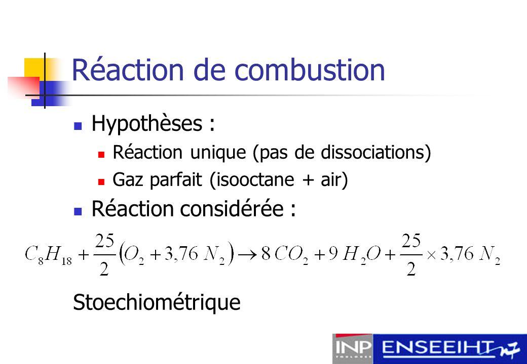Etude thermodynamique Objectifs de létude (travail, pression …) Energie dégagée par la réaction Hypothèses thermodynamiques : Compression et détente isentropiques ρ, C p, C v constants Combustion instantanée à V constant Etude des différents cycles