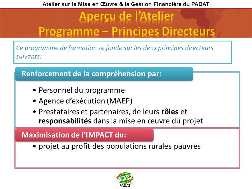Ce programme de formation se fonde sur les deux principes directeurs suivants: Personnel du programme Agence dexécution (MAEP) Prestataires et partena