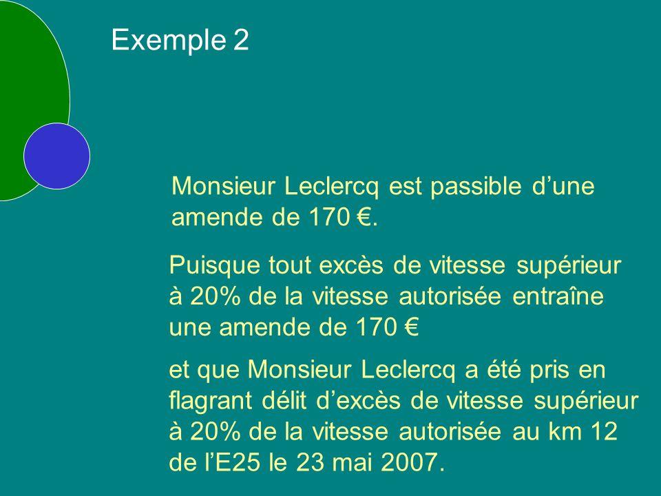 Monsieur Leclercq est passible dune amende de 170.