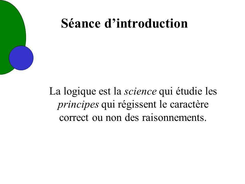 Séance dintroduction La logique est la science qui étudie les principes qui régissent le caractère correct ou non des raisonnements.