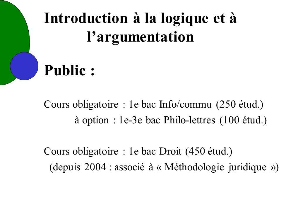 Introduction à la logique et à largumentation Public : Cours obligatoire : 1e bac Info/commu (250 étud.) à option : 1e-3e bac Philo-lettres (100 étud.