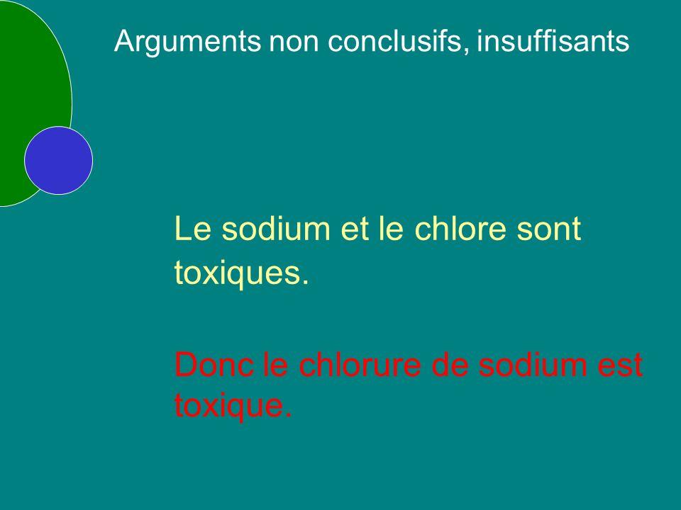 Le sodium et le chlore sont toxiques. Donc le chlorure de sodium est toxique.