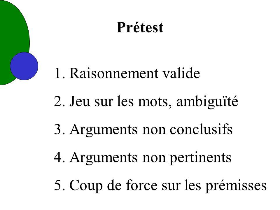 1. Raisonnement valide 2. Jeu sur les mots, ambiguïté 3.