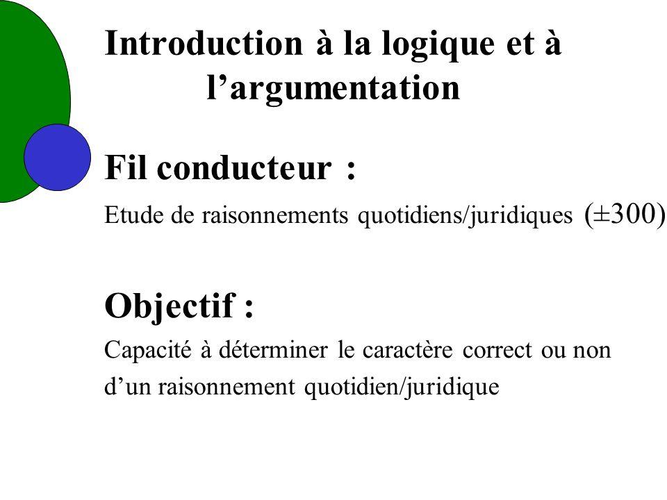 Introduction à la logique et à largumentation Fil conducteur : Etude de raisonnements quotidiens/juridiques (±300) Objectif : Capacité à déterminer le caractère correct ou non dun raisonnement quotidien/juridique