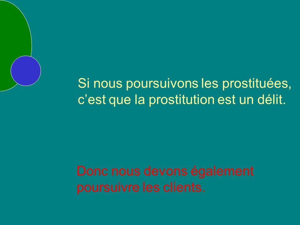Si nous poursuivons les prostituées, cest que la prostitution est un délit.