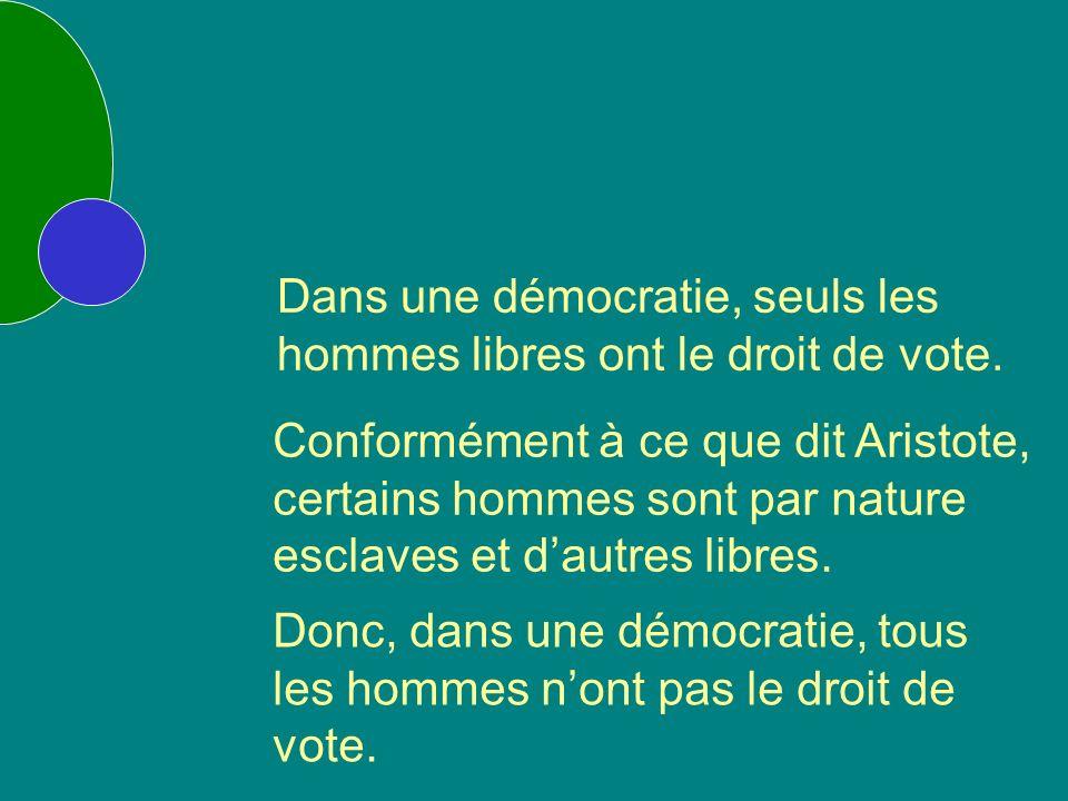 Dans une démocratie, seuls les hommes libres ont le droit de vote.