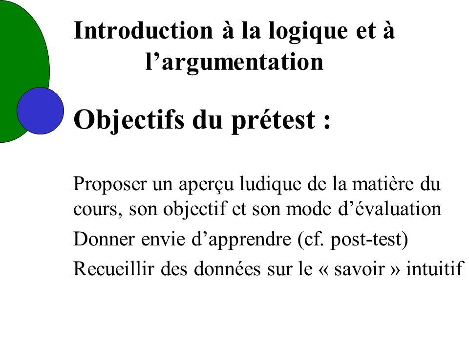 Introduction à la logique et à largumentation Objectifs du prétest : Proposer un aperçu ludique de la matière du cours, son objectif et son mode dévaluation Donner envie dapprendre (cf.