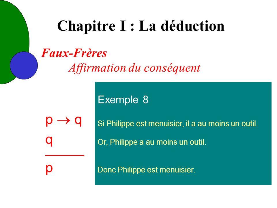 Chapitre I : La déduction Exemple 8 Si Philippe est menuisier, il a au moins un outil.