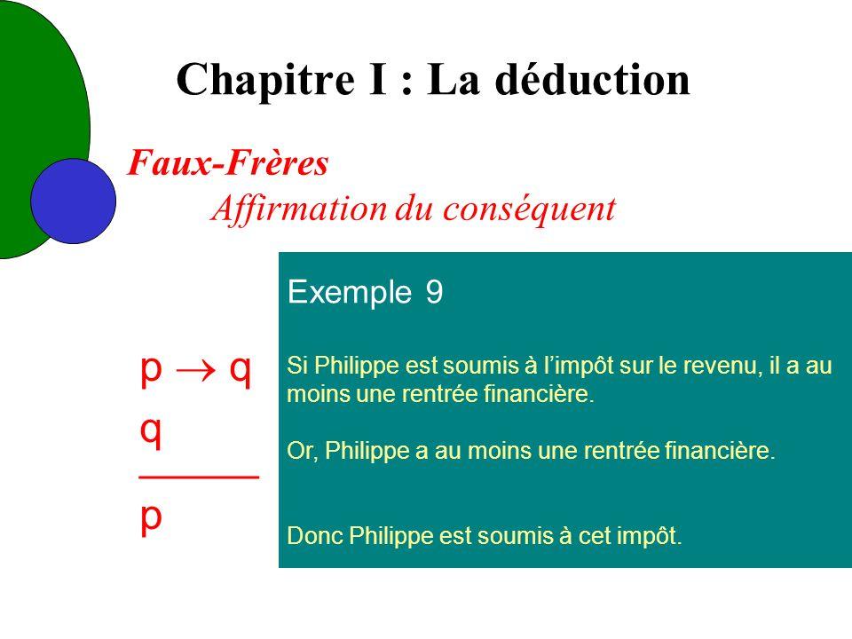 Chapitre I : La déduction Exemple 9 Si Philippe est soumis à limpôt sur le revenu, il a au moins une rentrée financière.