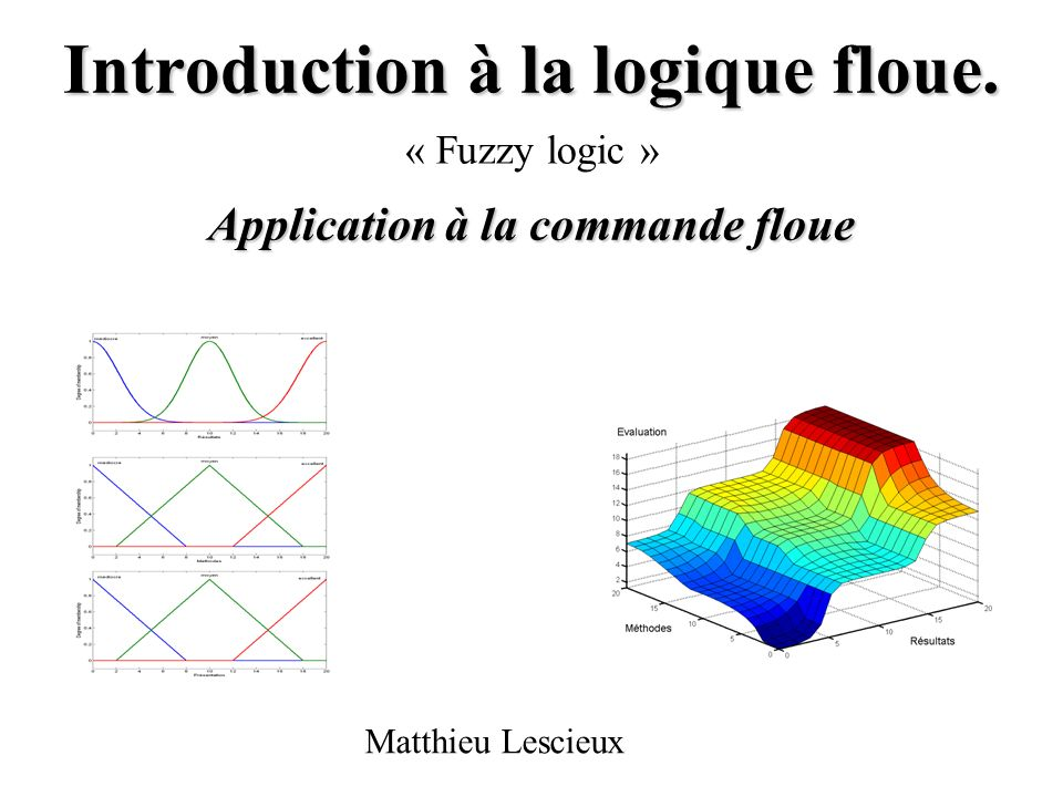 Introduction à la logique floue. Application à la commande floue « Fuzzy logic » Matthieu Lescieux