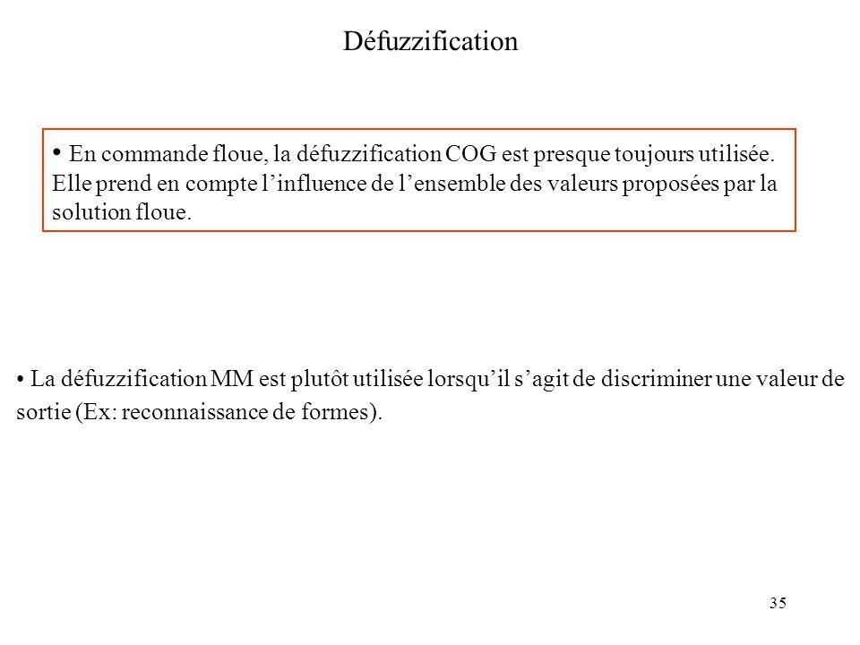 35 Défuzzification En commande floue, la défuzzification COG est presque toujours utilisée. Elle prend en compte linfluence de lensemble des valeurs p