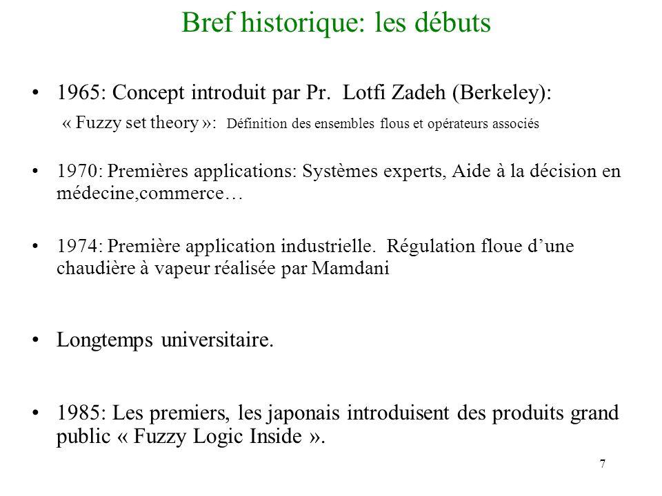 7 Bref historique: les débuts 1965: Concept introduit par Pr. Lotfi Zadeh (Berkeley): « Fuzzy set theory »: Définition des ensembles flous et opérateu