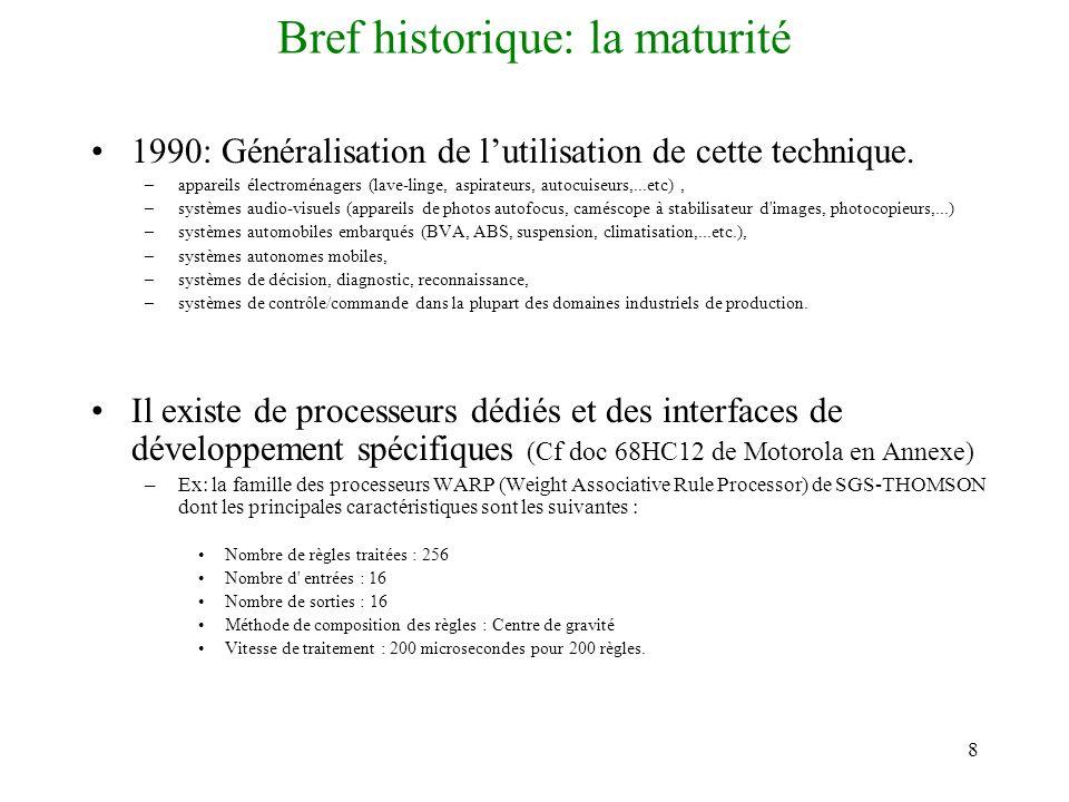 8 Bref historique: la maturité 1990: Généralisation de lutilisation de cette technique. –appareils électroménagers (lave-linge, aspirateurs, autocuise