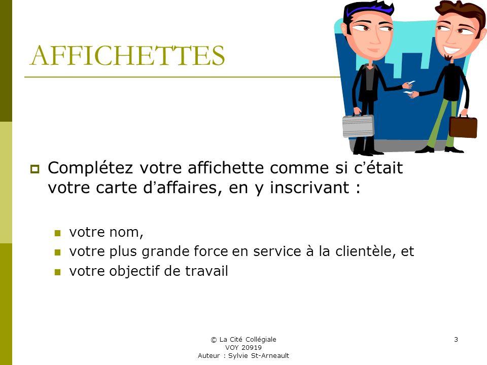 © La Cité Collégiale VOY 20919 Auteur : Sylvie St-Arneault 3 AFFICHETTES Complétez votre affichette comme si c était votre carte d affaires, en y inscrivant : votre nom, votre plus grande force en service à la clientèle, et votre objectif de travail