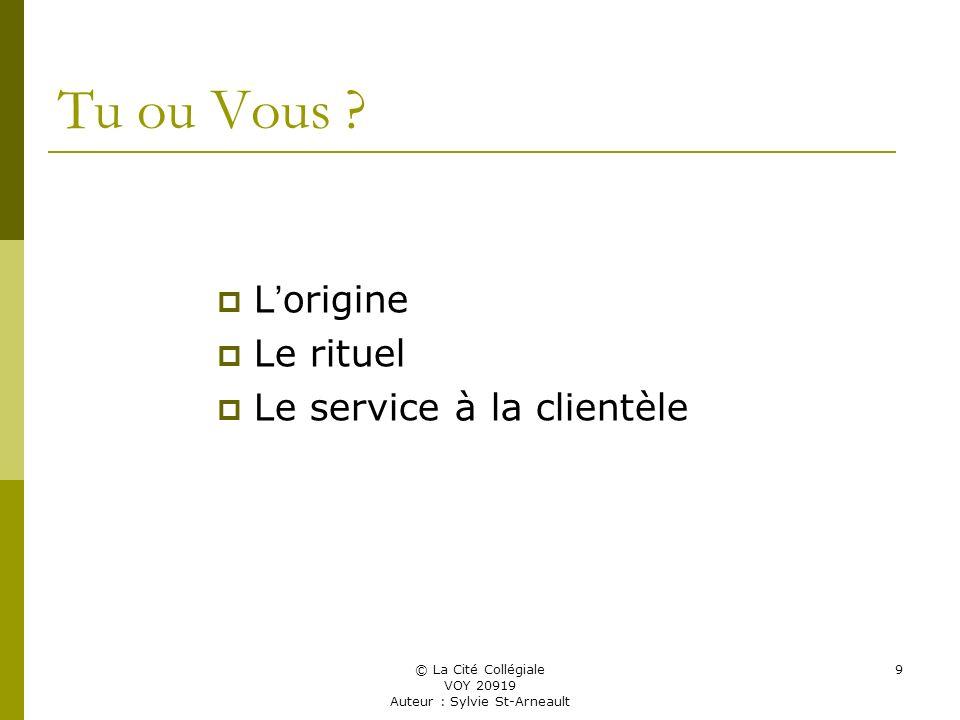 © La Cité Collégiale VOY 20919 Auteur : Sylvie St-Arneault 9 Tu ou Vous .